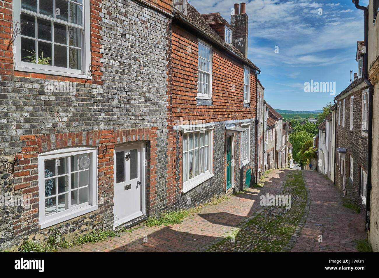 Lewes, England - May 22 2017: Keere Street, Lewes. Popular legend recalls that the Prince of Wales (future George Stock Photo