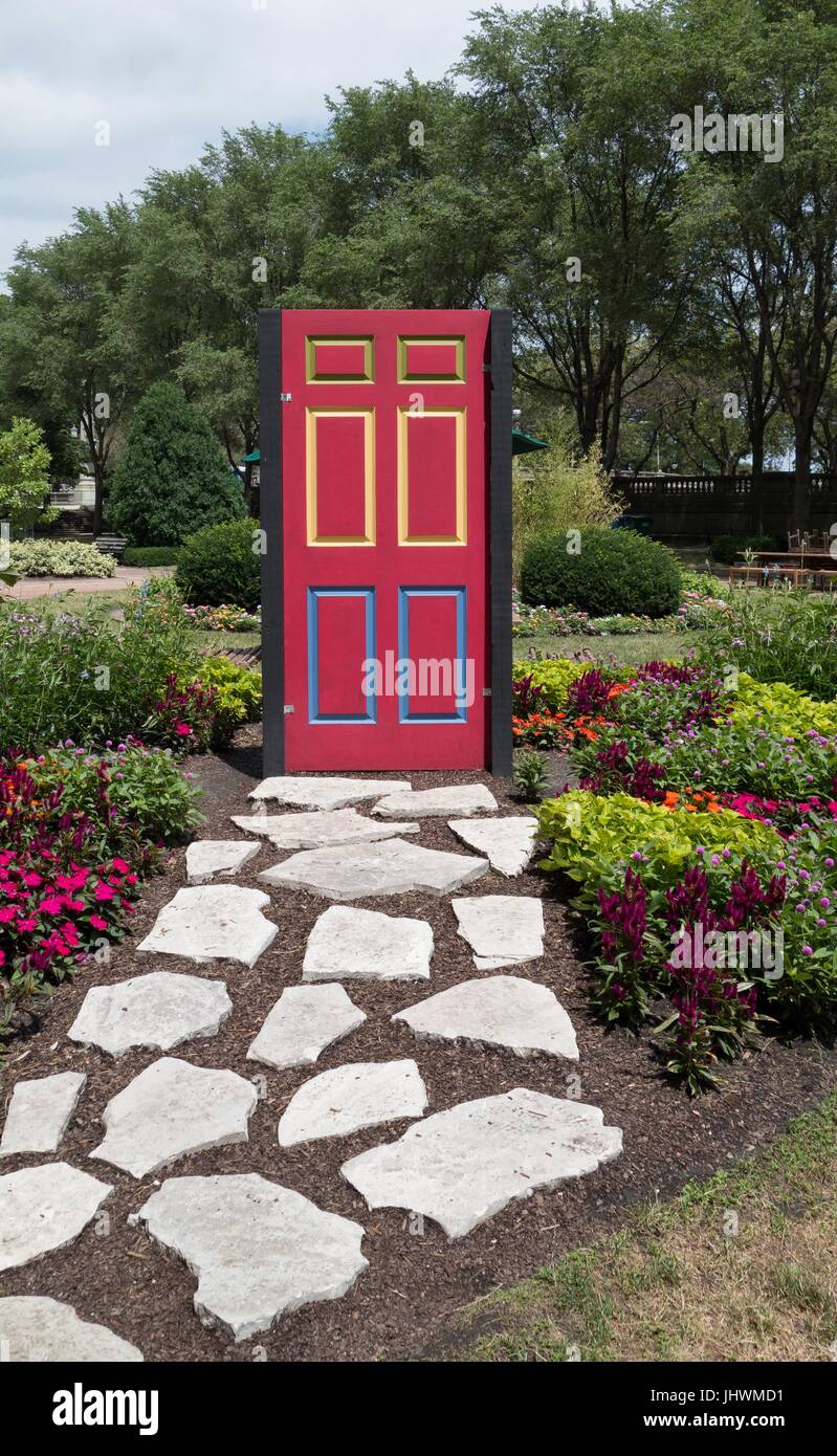 A brightly painted door sculpture in Grant Park in Chicago, IL, USA. Stock Photo
