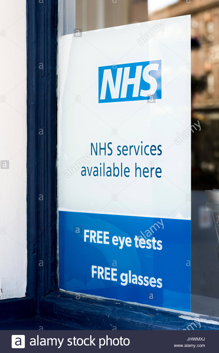 08a95fa3e7e NHS Services Available Here - Free Eye Tests Free Glasses sign in and  opticians window