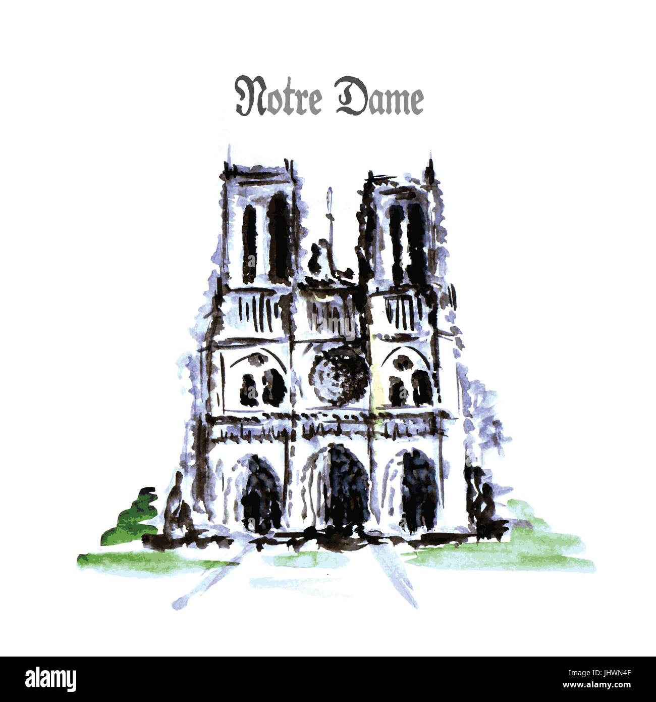 Notre Dame de Paris Cathedral, France. Watercolor hand drawing. - Stock Image