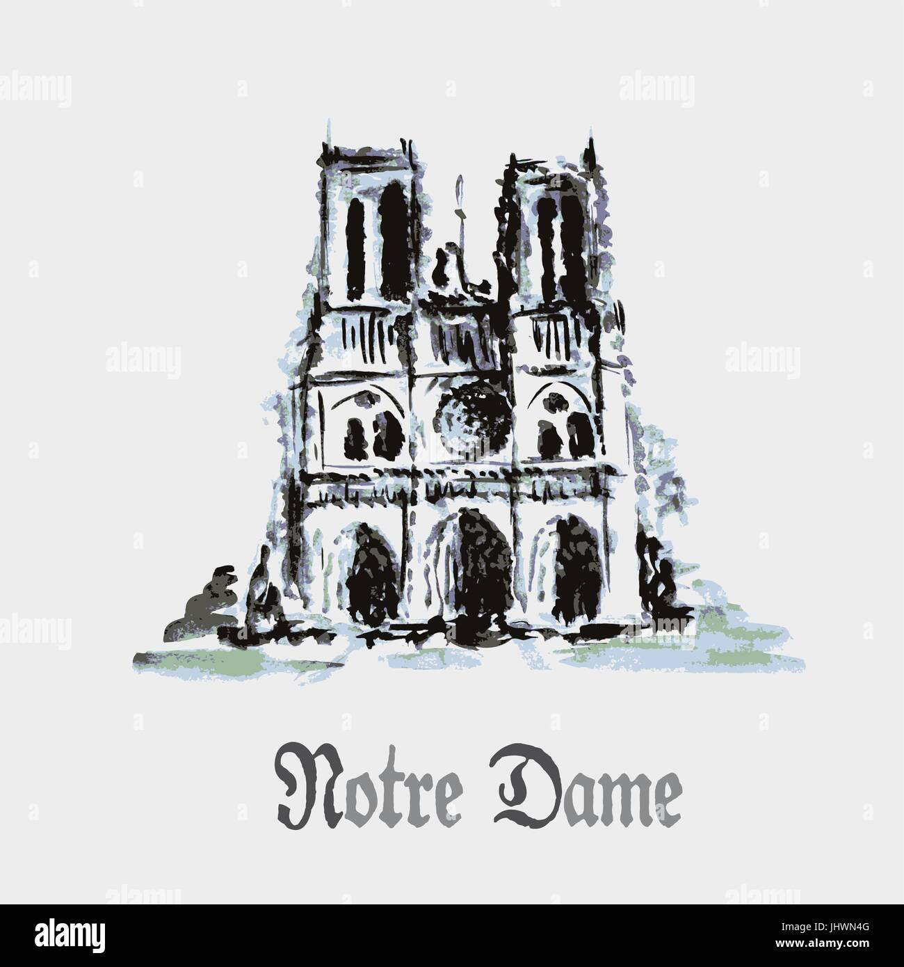Notre Dame de Paris Cathedral, France. Watercolor hand drawing. - Stock Vector