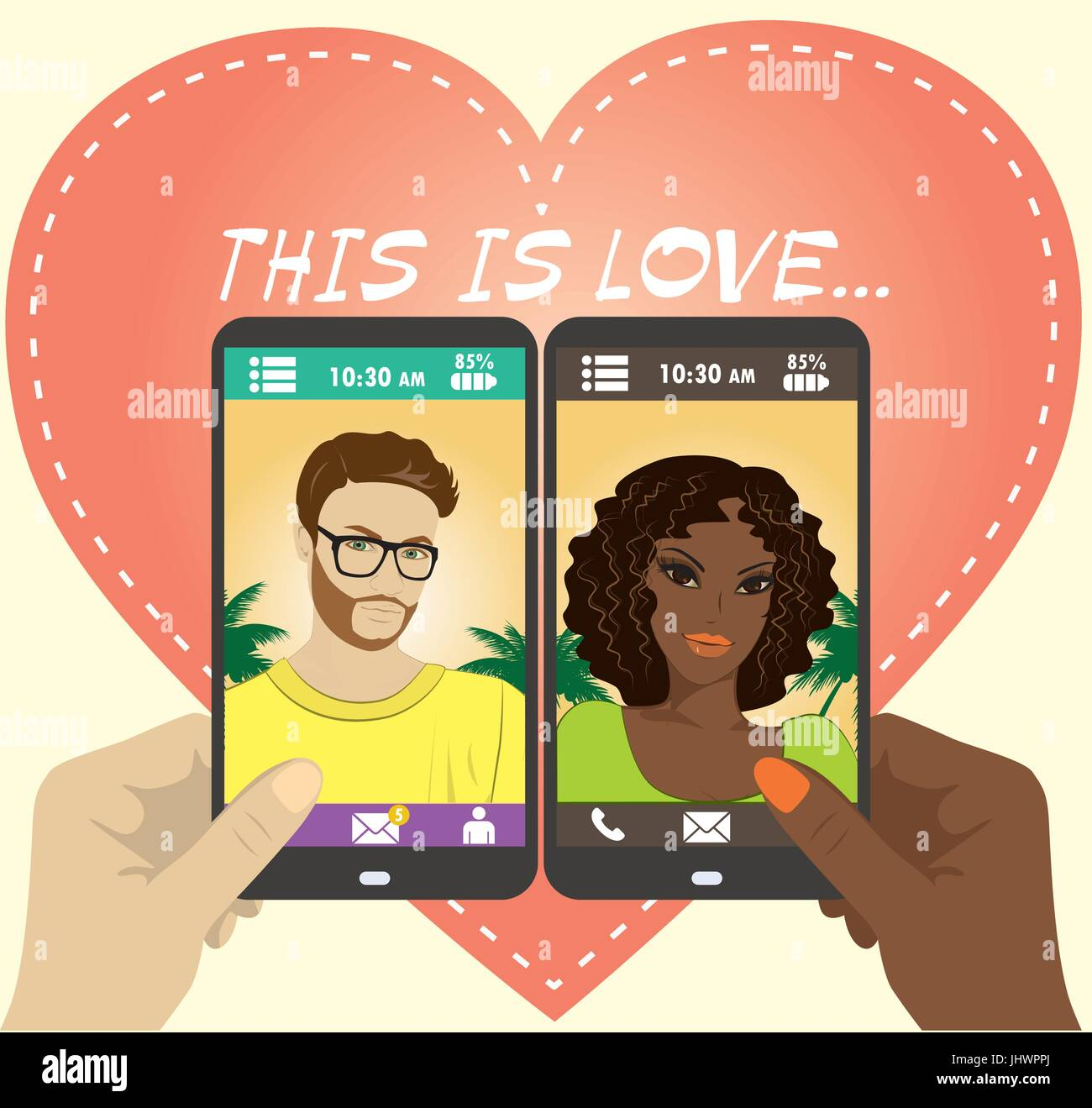 Beautiful young man and woman in love on the screen of your smartphone,flat vector. - Stock Vector
