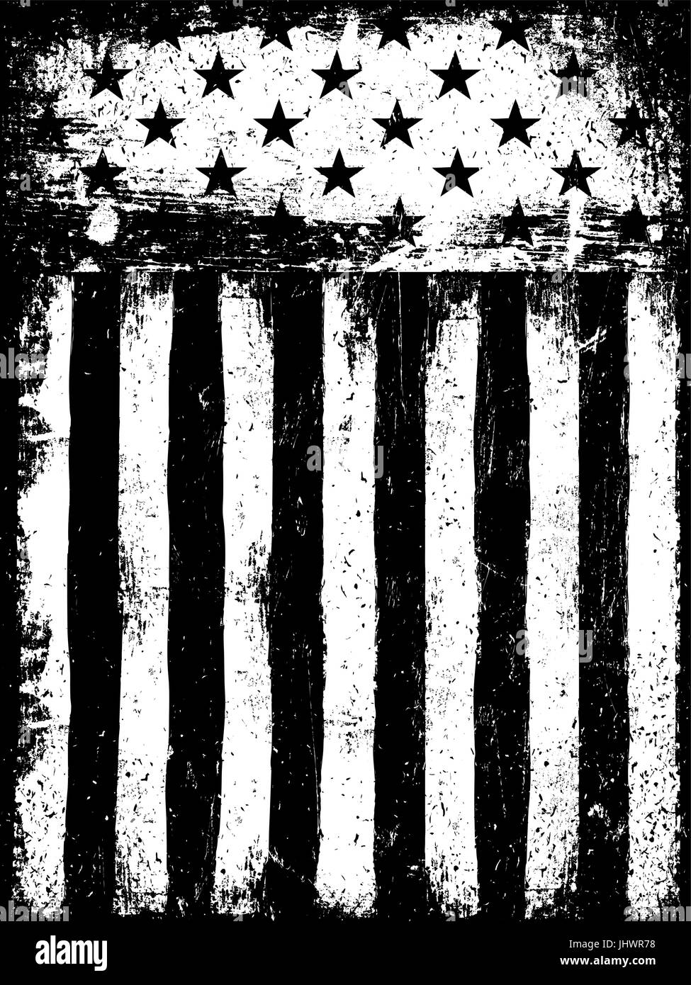 Stars And Stripes Monochrome Negative Photocopy American
