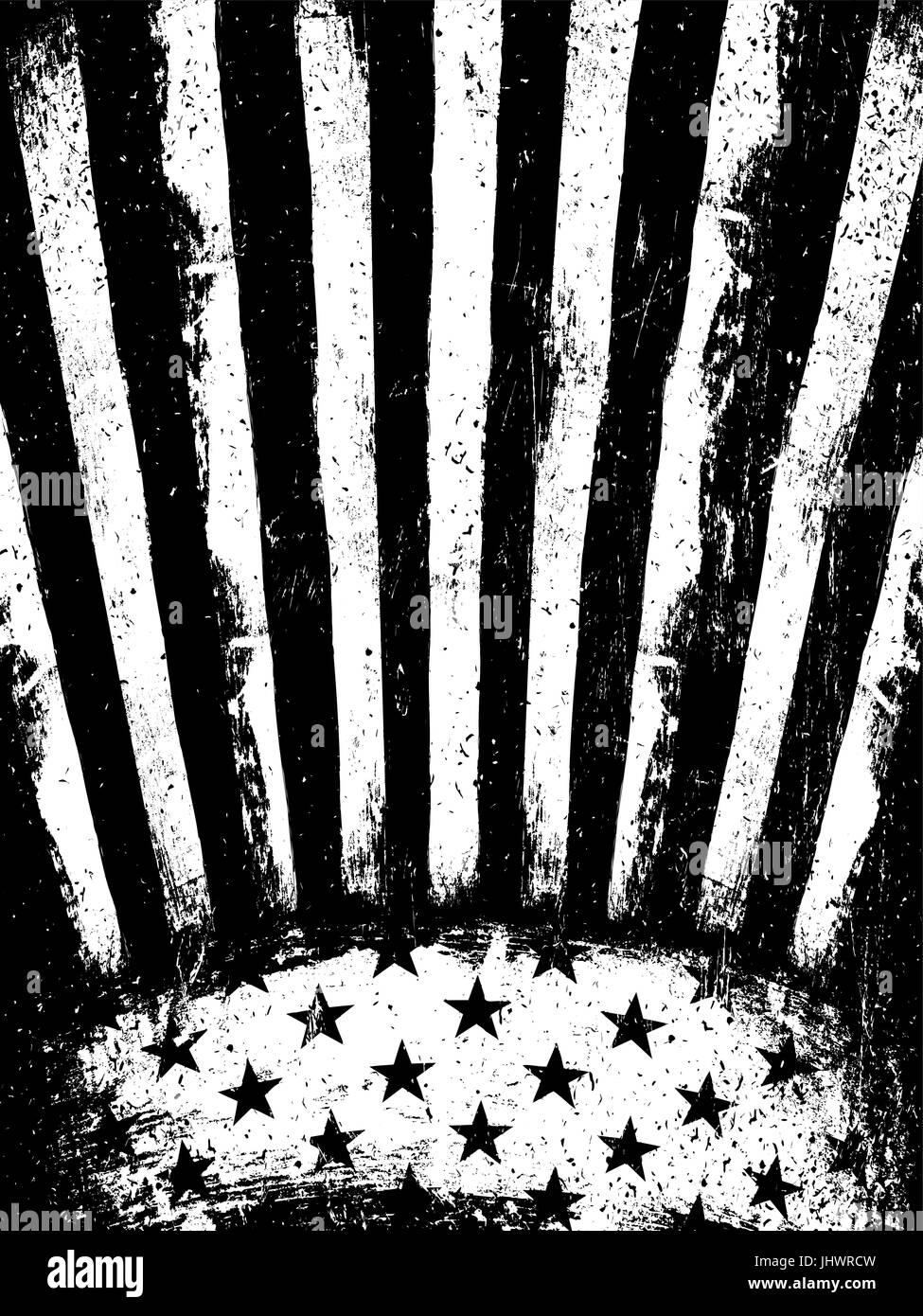 monochrome negative photocopy american flag background grunge aged