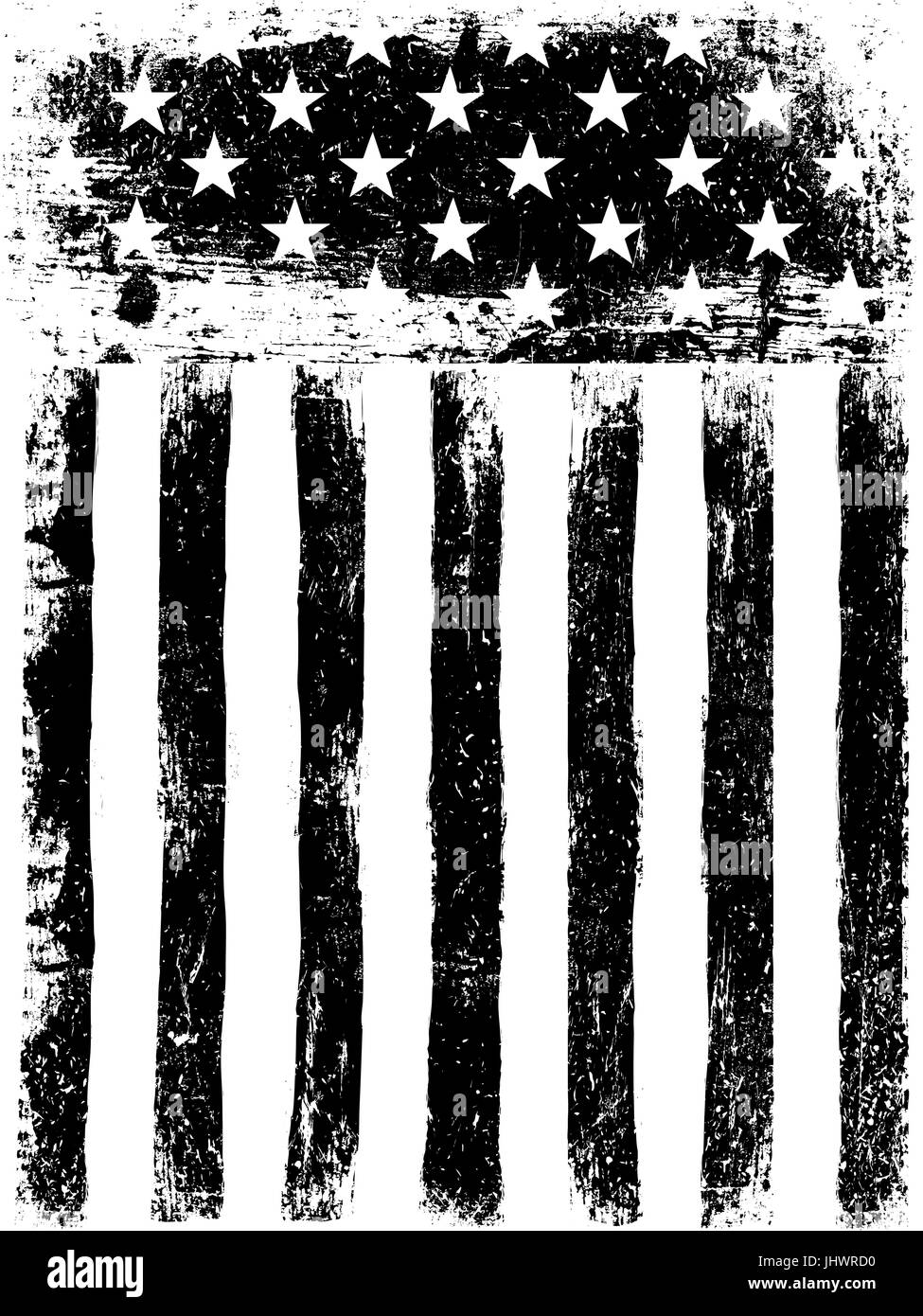 9505063e2110 Monochrome Photocopy American Flag Background. Grunge Aged Vector Template.  Vertical orientation.