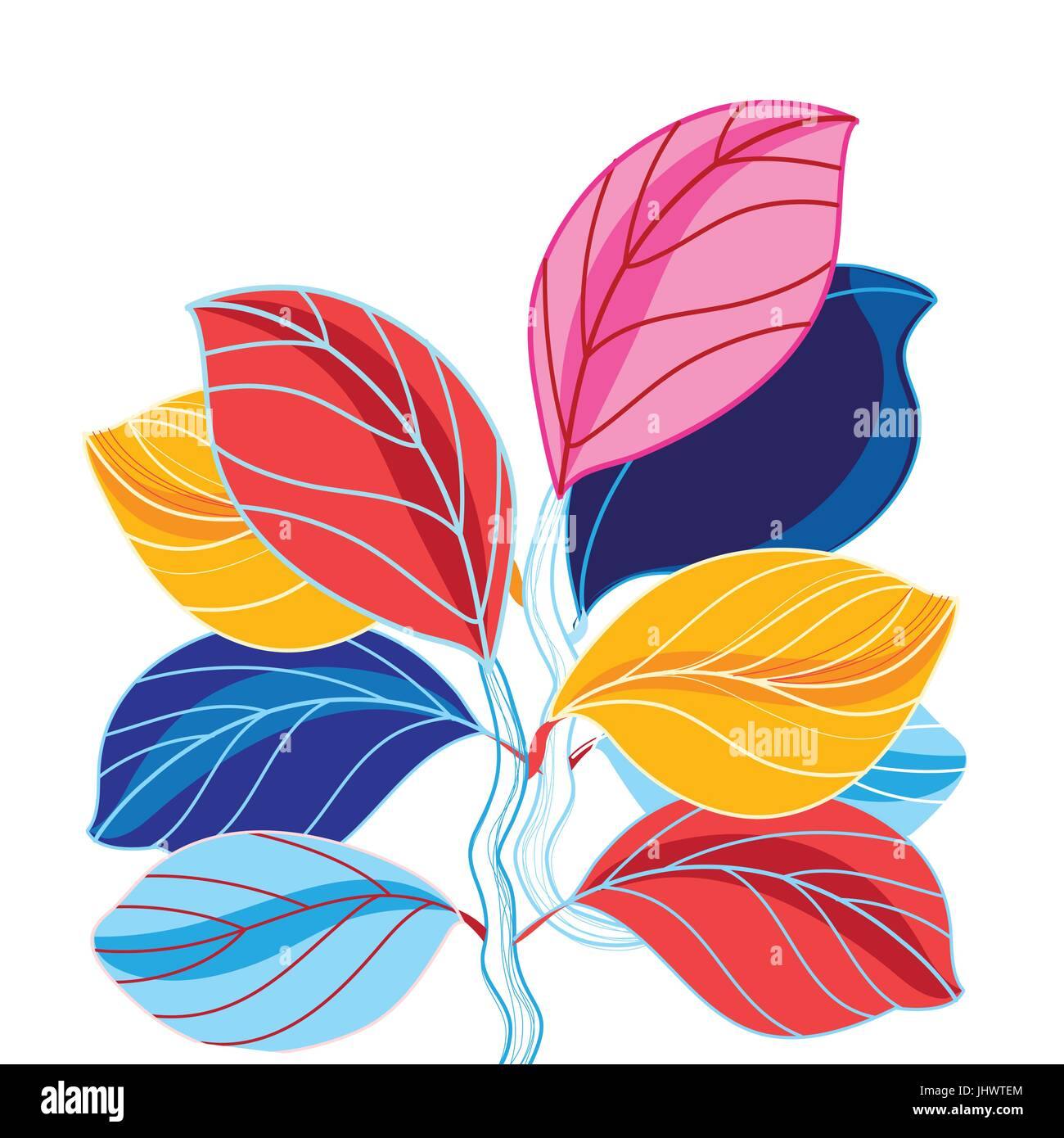 Vector illustration of a beautiful colored leaves on a white background - Stock Vector