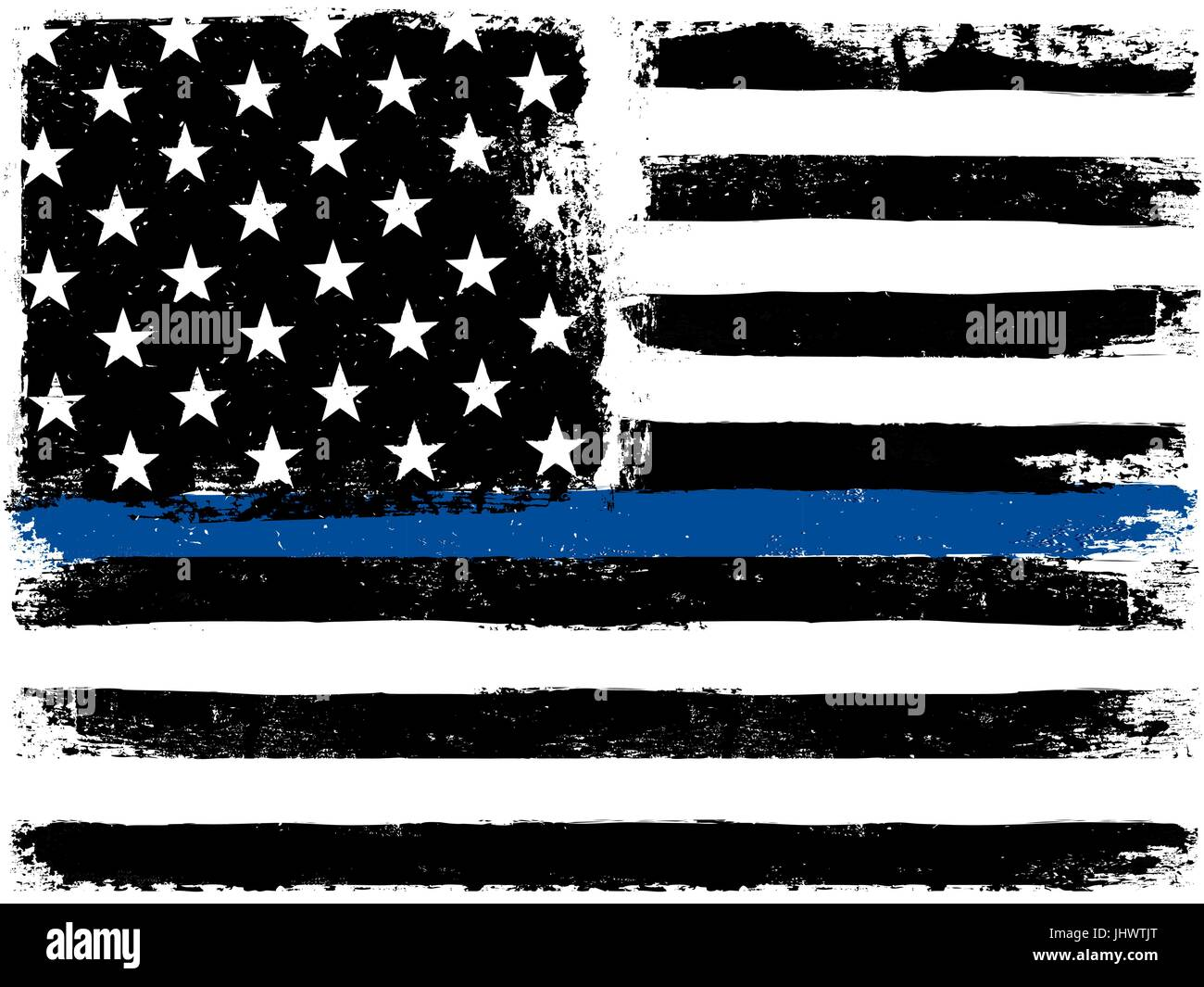American Flag With Thin Blue Line Grunge Aged Background
