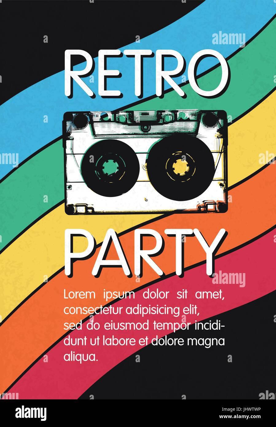 Retro music party poster design. Disco music vintage party ...