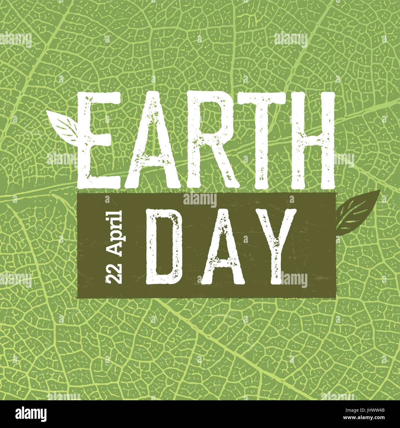 Grunge Earth Day Logo On Green Leaf Veins Texture Earth Day 22