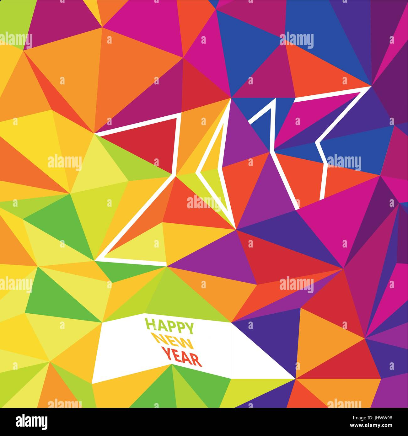 happy new 2017 year greetings typography design new year card template simple colorful design colorful low poly pattern background
