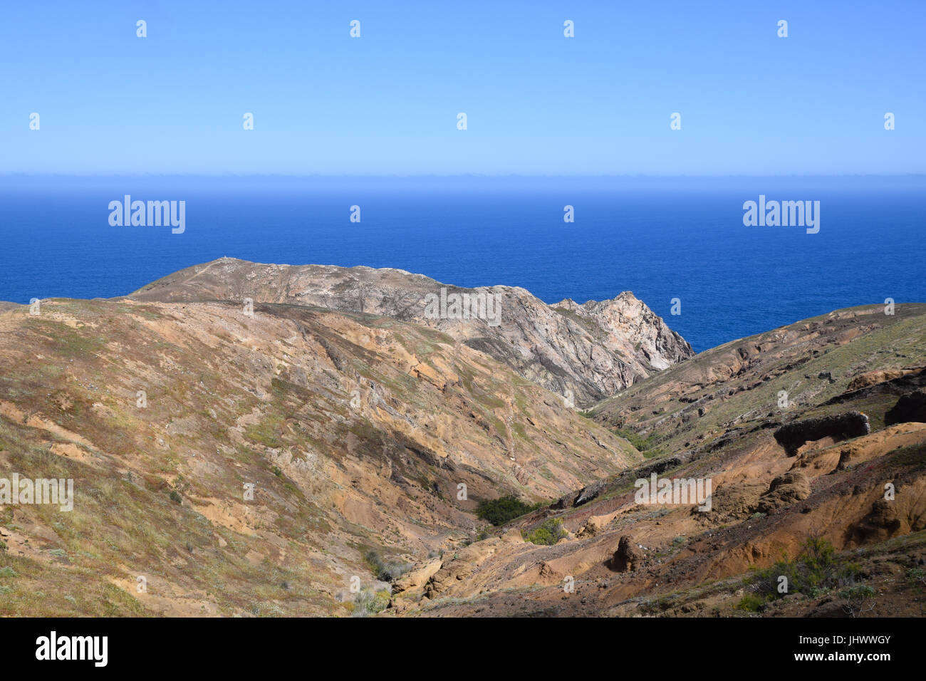 Geological landscape of the north east side of Porto Santo Island, Portugal - Stock Image