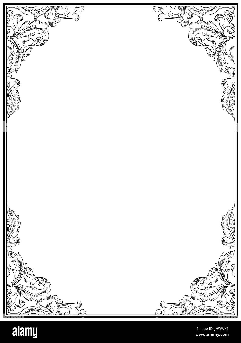 Vintage retro frame for design. Ornamental floral frame template ...
