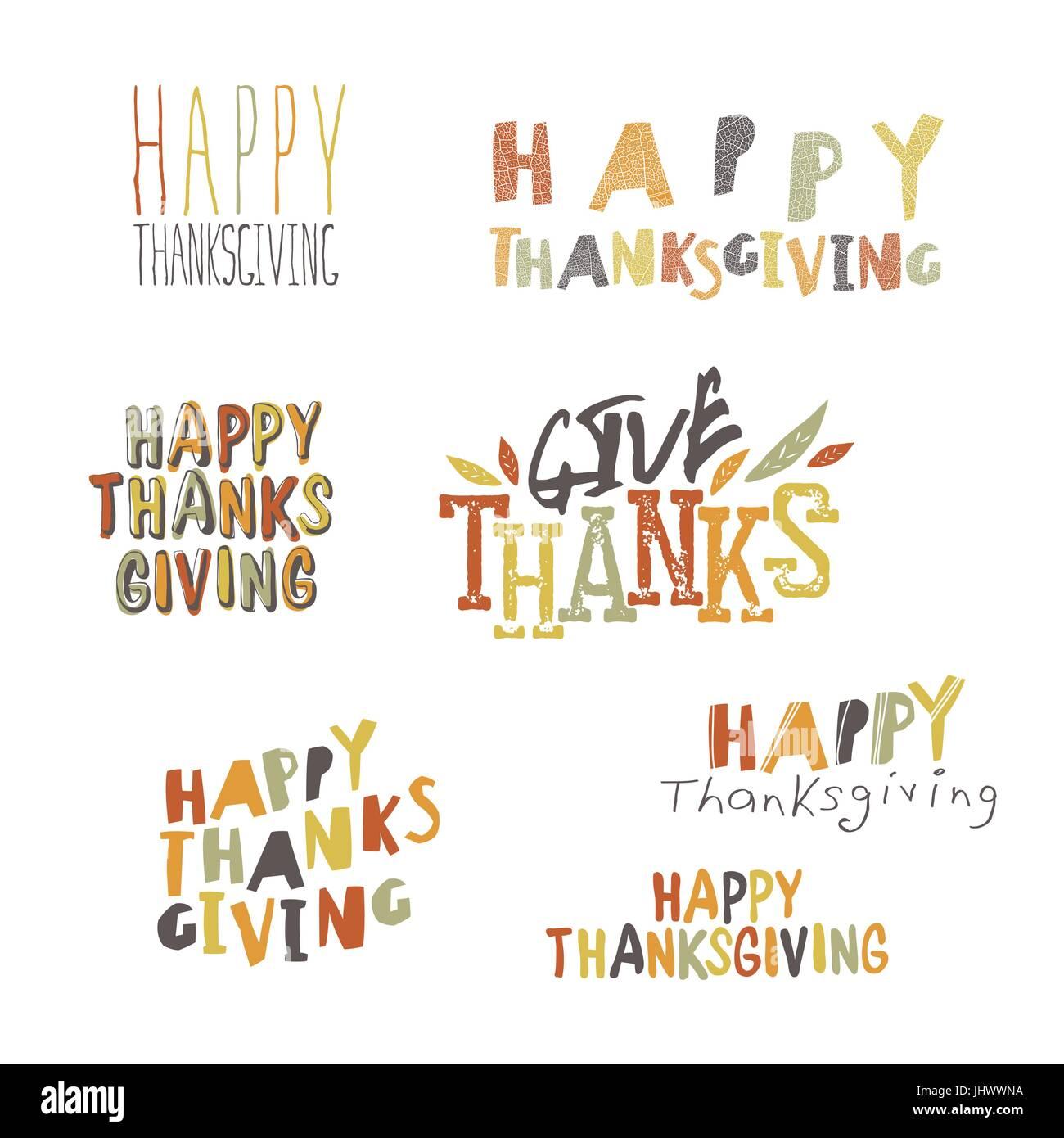 Happy Thanksgiving logotypes set - Stock Vector
