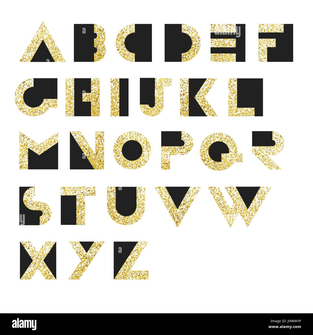 Gold Geometric Retro Alphabet.  Art deco style. Type, font, vintage vector typography - Stock Vector