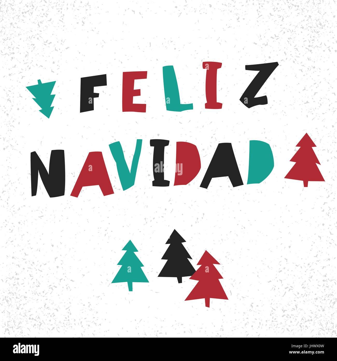 Feliz Navidad. Vector Merry Christmas card template in spanish Stock ...