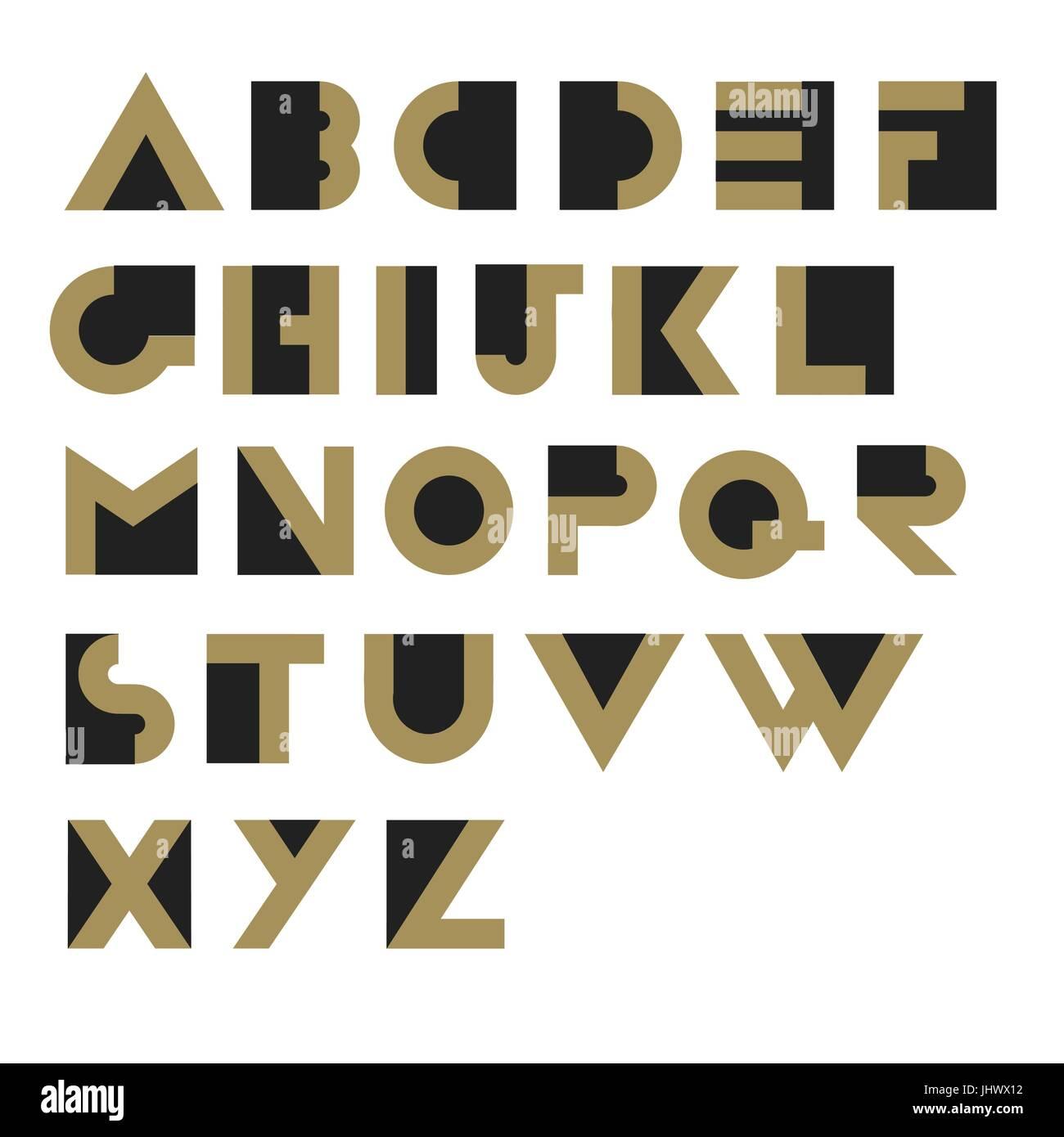 Geometric Retro Alphabet.  Art deco style. Type, font, vintage vector typography - Stock Vector