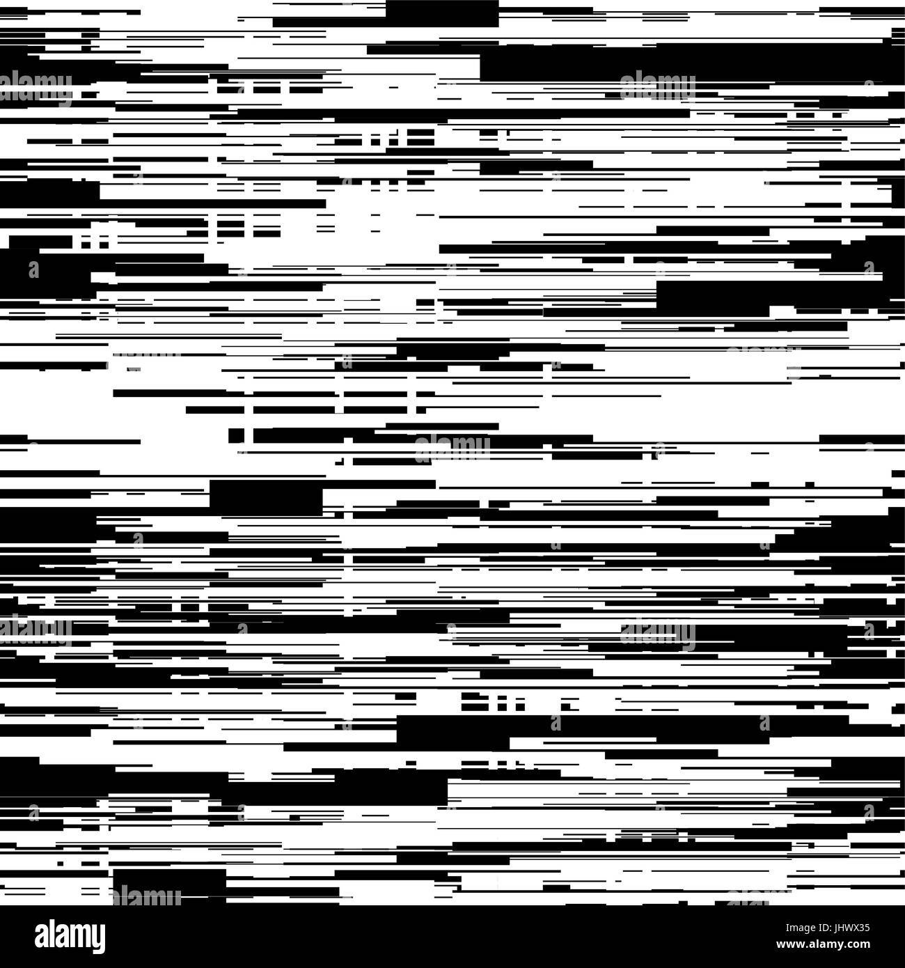 Abstract black and white background with glitch effect distortion seamless texture random horizontal lines vector illustration