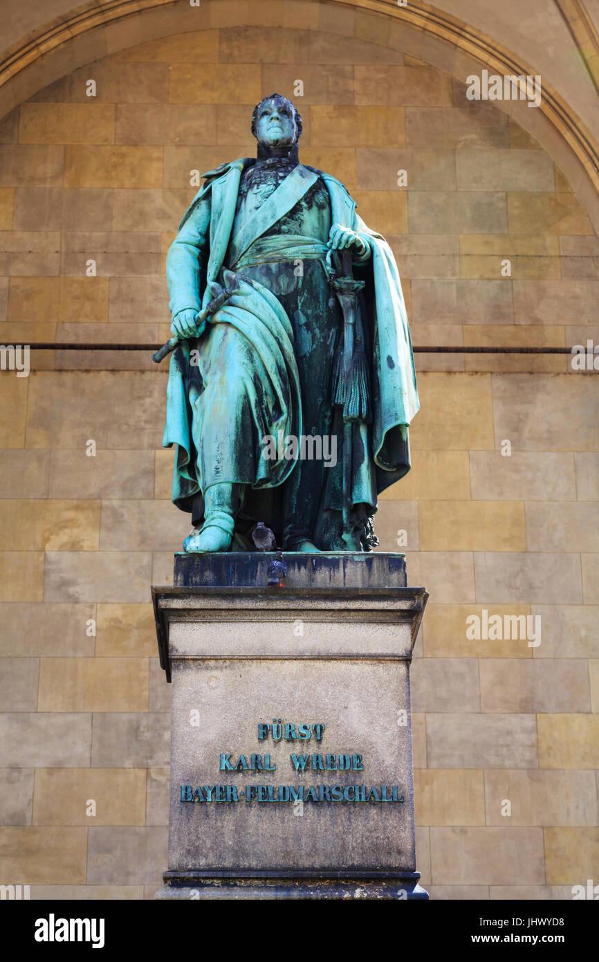 Feldmarschall Karl Philipp von Wrede statue in the Feldherrnhalle, Odeonplatz, Munich, Bavaria, Germany - Stock Image