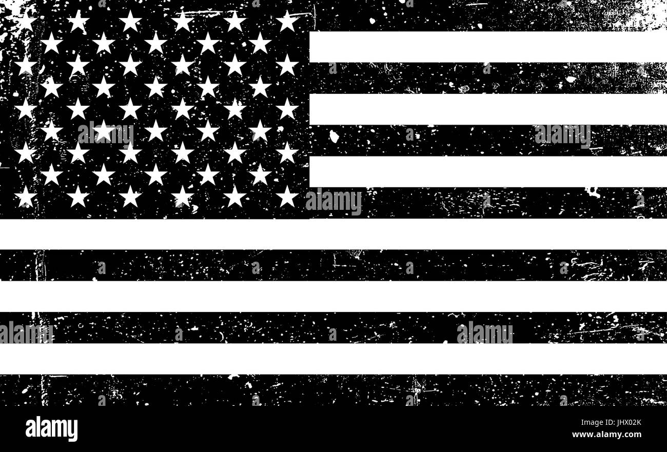 9568a6901c04 Grunge monochrome United States of America flag. Black and white vector  illustration with grunge texture.
