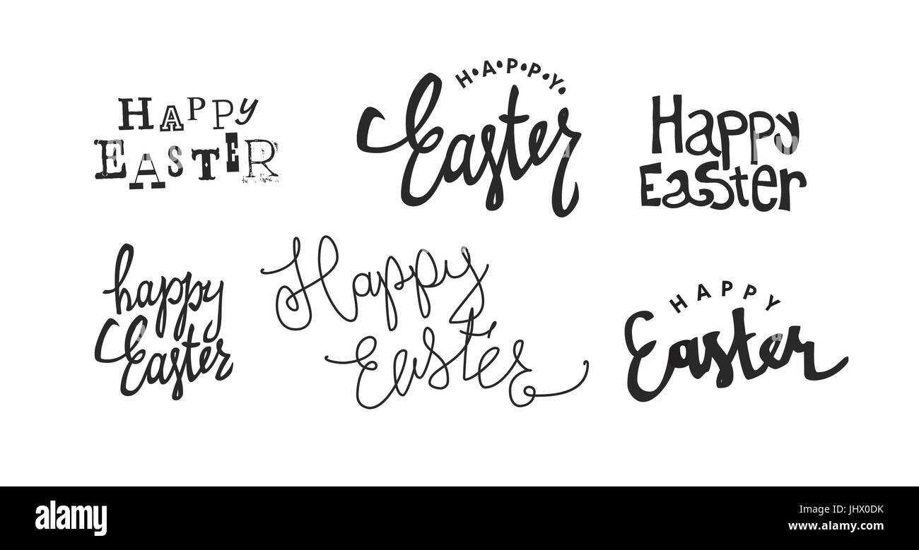 'Happy Easter' calligraphy logotypes. Holiday logos set. Holiday greetings logotype collection. Hand drawn - Stock Vector