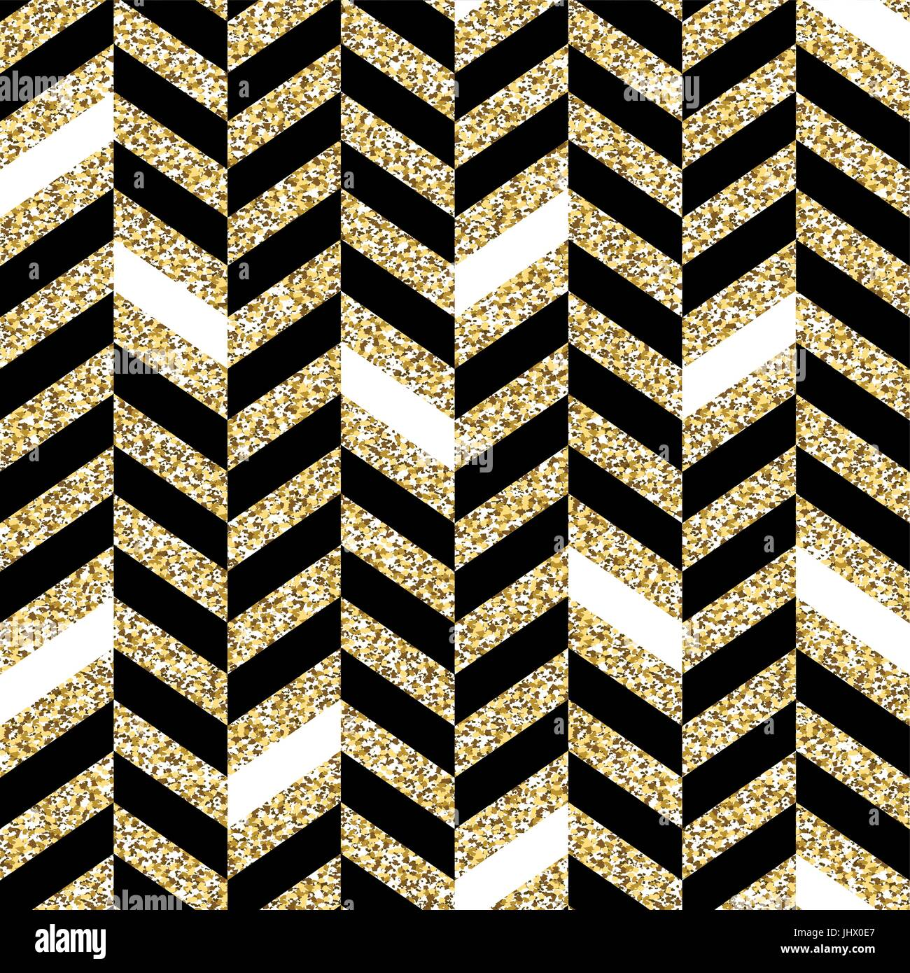 Seamless chevron pattern. Glittering golden surface. Black ...