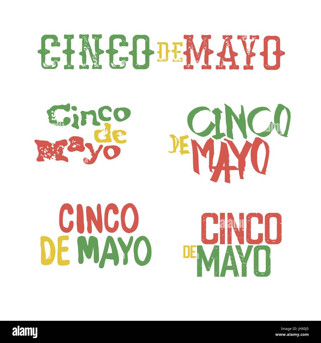 Cinco de Mayo badges. Holiday typography design set. Vector Cinco de Mayo logotypes collection. - Stock Vector