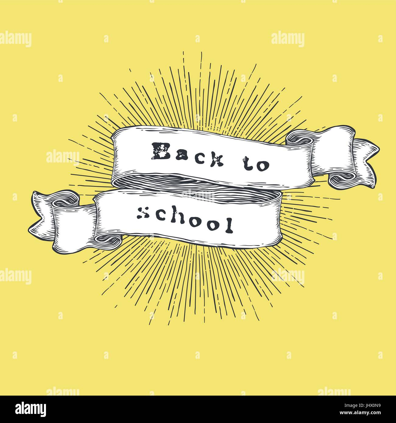 Back To School. Vintage Hand Drawn Quote On Ribbon. Welcome Banner Vector  Illustration
