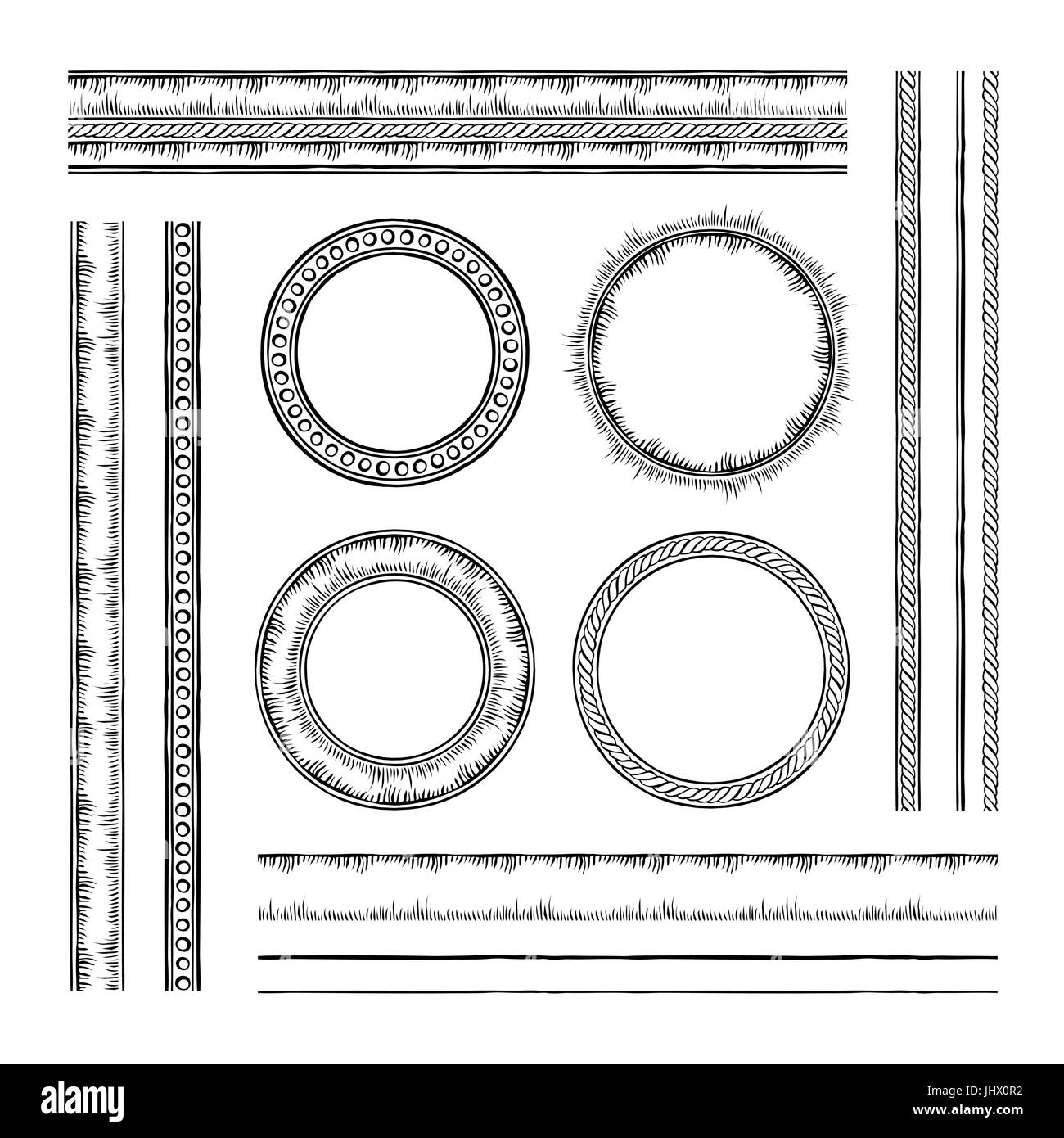 Set of round vector frames and borders. Rope and dotted designs ...