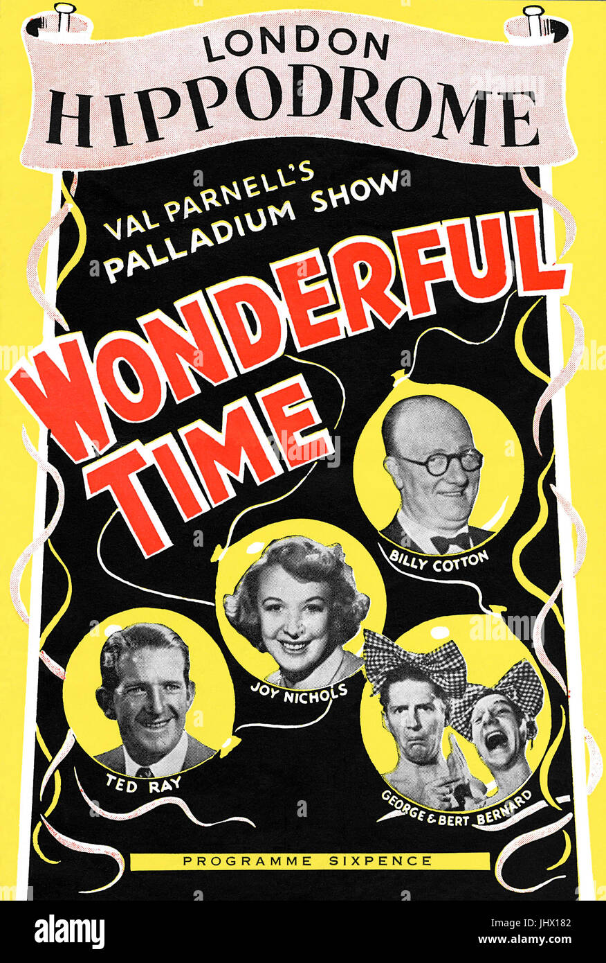 Front cover of a programme from the London Hippodrome for the variety show Wonderful Time. First performed in 1952. - Stock Image