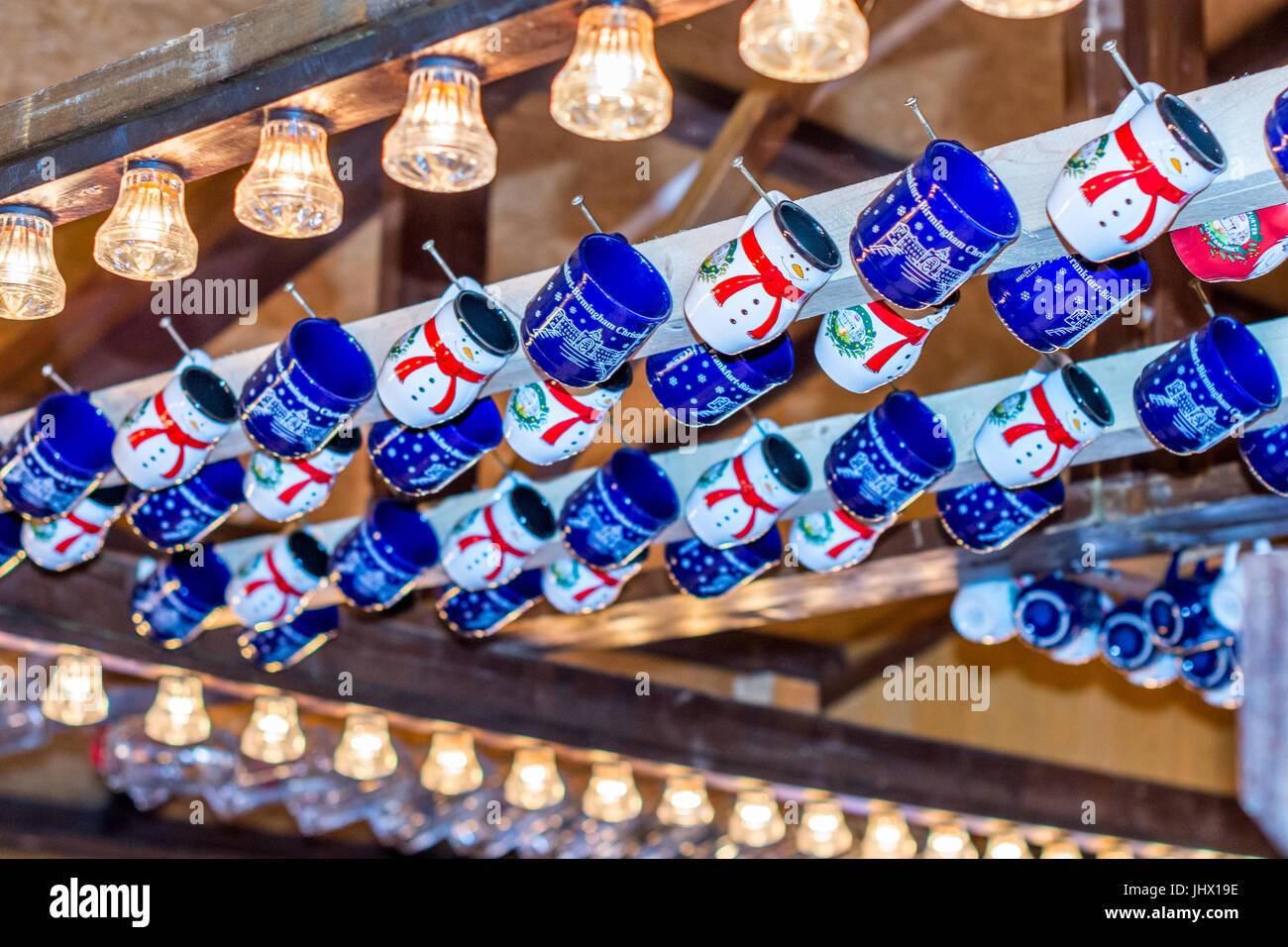 Christmas German Market - mulled wine cups in Market Stall. Stock Photo