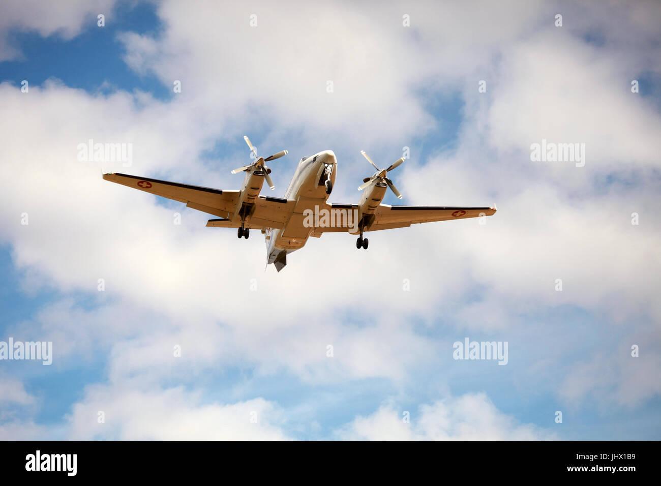 small passenger aircraft landing - Stock Image