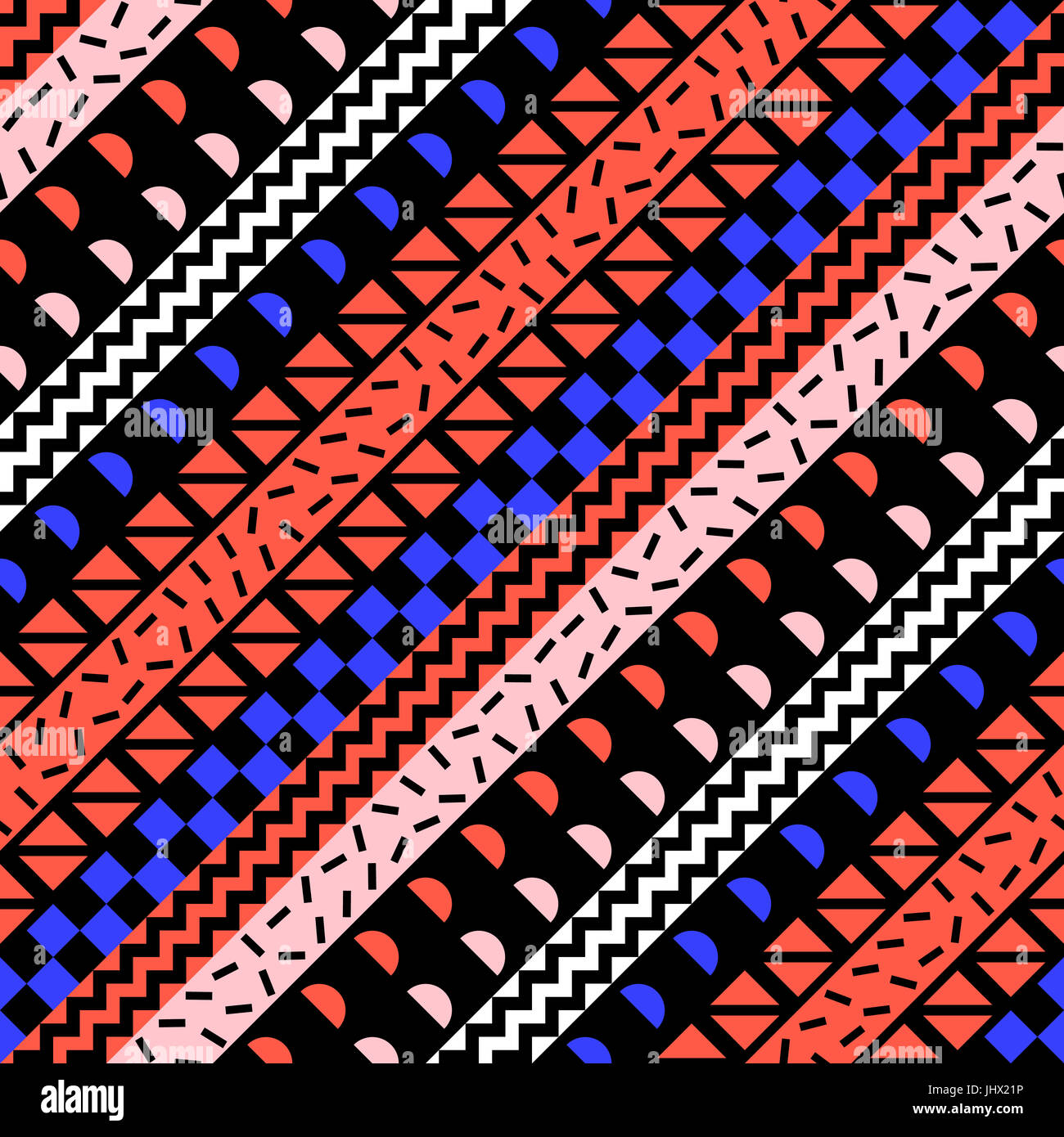 Retro Color Tribal Seamless Pattern Fancy Abstract Geometric Art