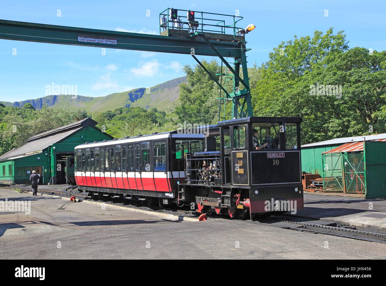 Snowdon Mountain railway, Llanberis, Gwynedd, Snowdonia, north Wales, UK - Stock Image