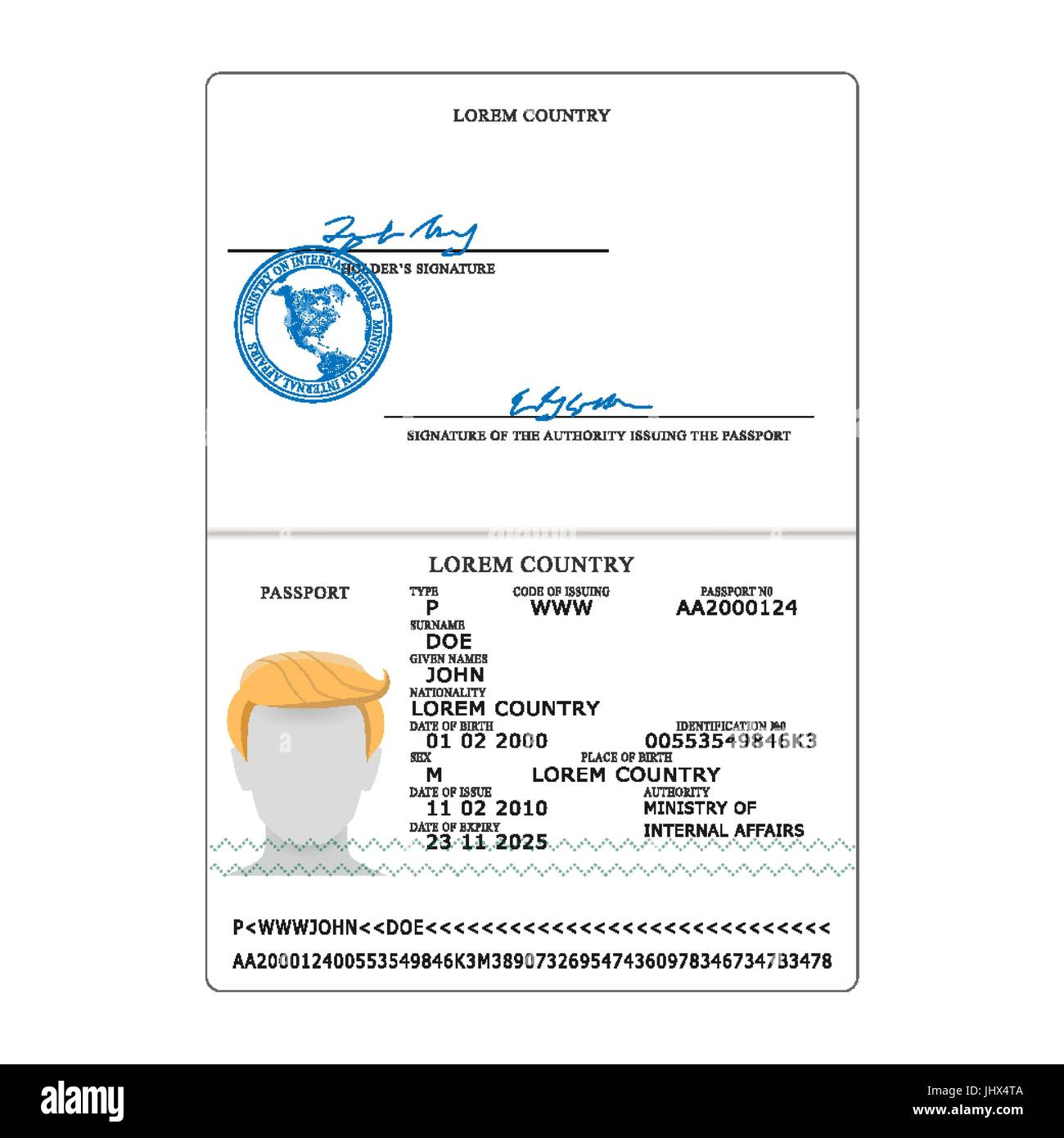 International Passport Vector  Opened Passport Page Blank