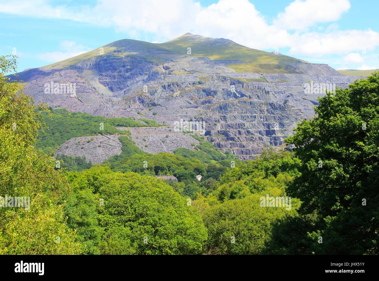 Slate quarries at Llanberis, Snowdonia, north Wales, UK view down to Llanberis Stock Photo