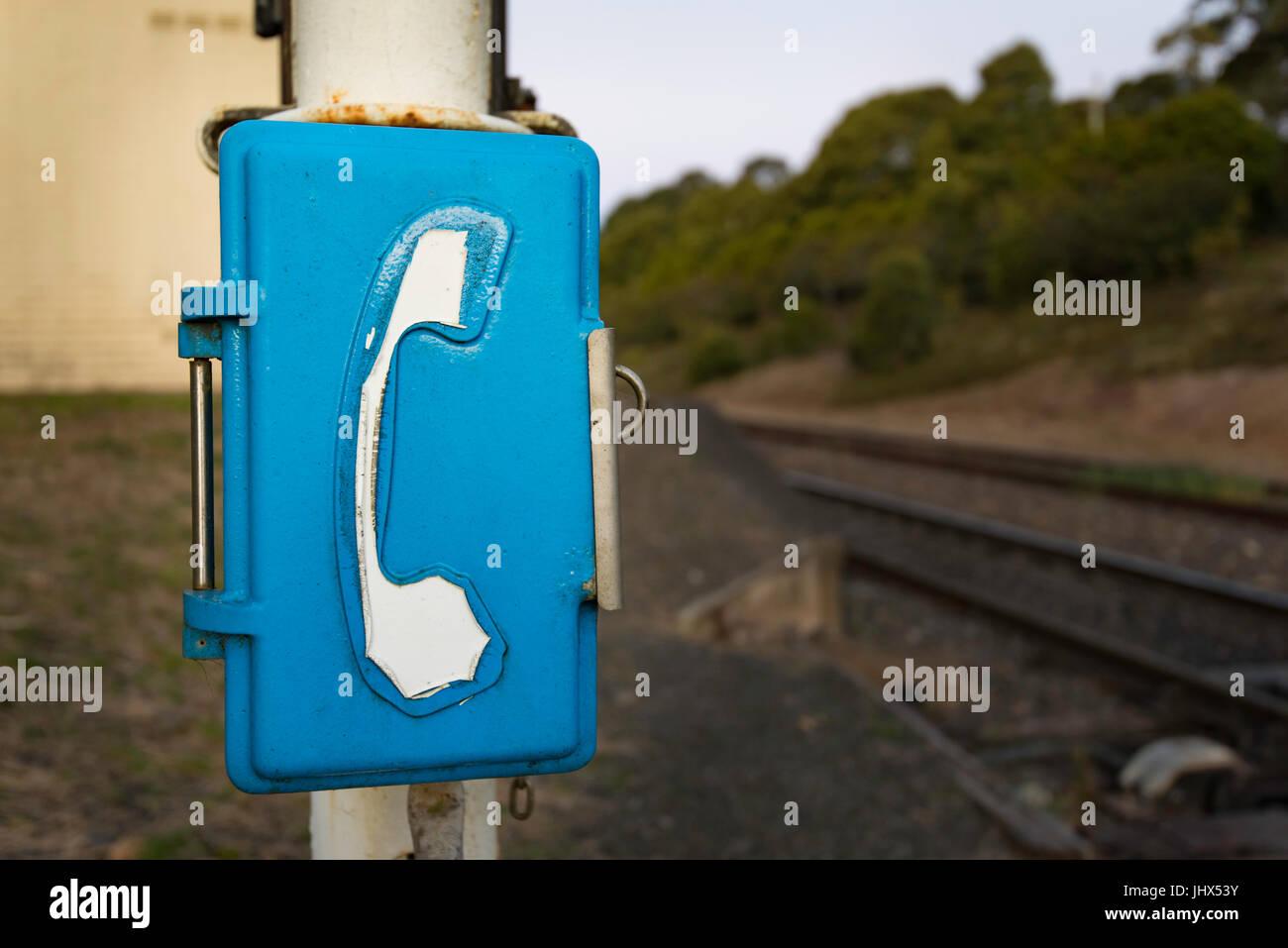 An Australian railway telephone line - Stock Image