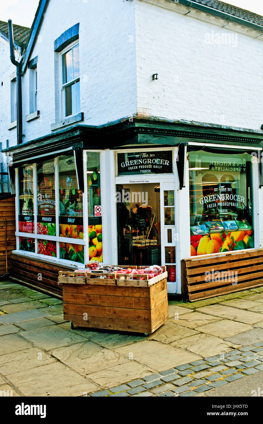 greengrocers, Thirsk, North Yorkshire - Stock Image