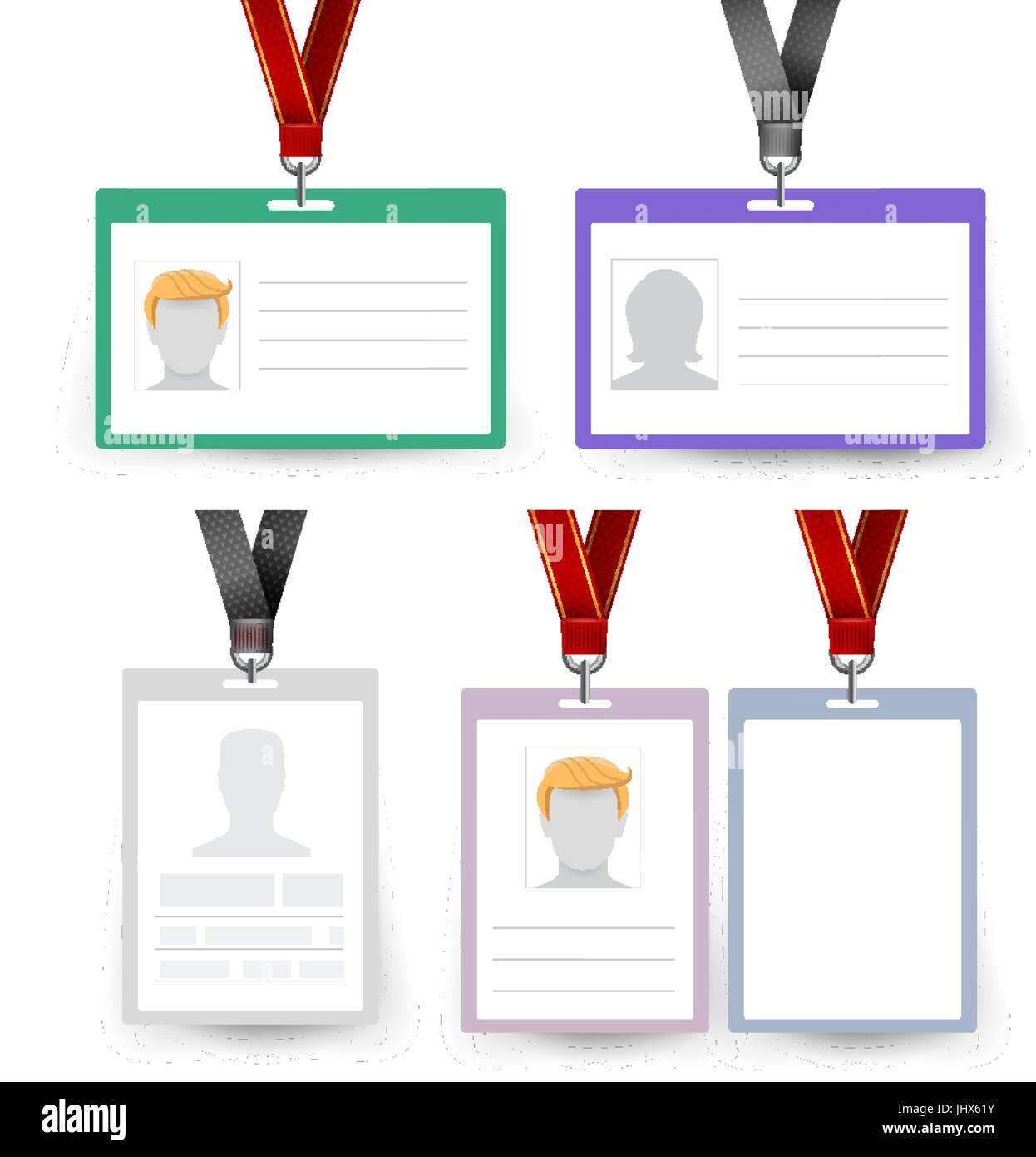 Id Badge Set Vector Name Tag Employee Card White Blank Plastic Id Stock Vector Image Art Alamy