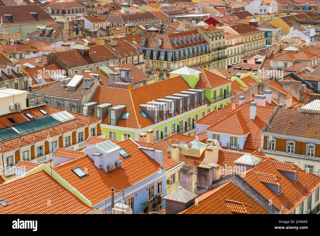 Lisbon Baixa, aeriel view of the Baixa district in the centre of the city of Lisbon, Portugal. - Stock Image