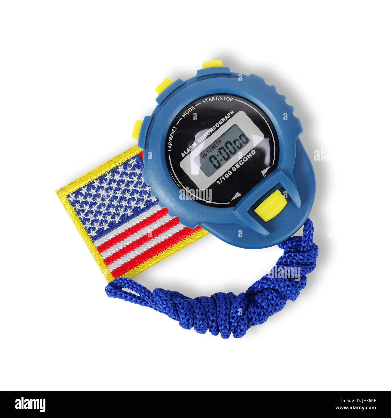 Sports equipment - Blue Digital electronic Stopwatch and usa flag on a white background - Stock Image