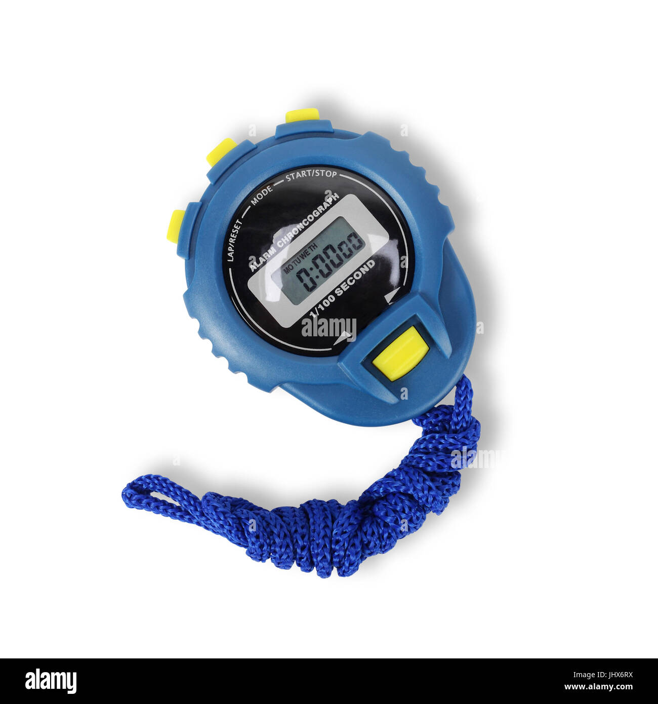 Sports equipment - Blue Digital electronic Stopwatch on a white background. Isolated - Stock Image