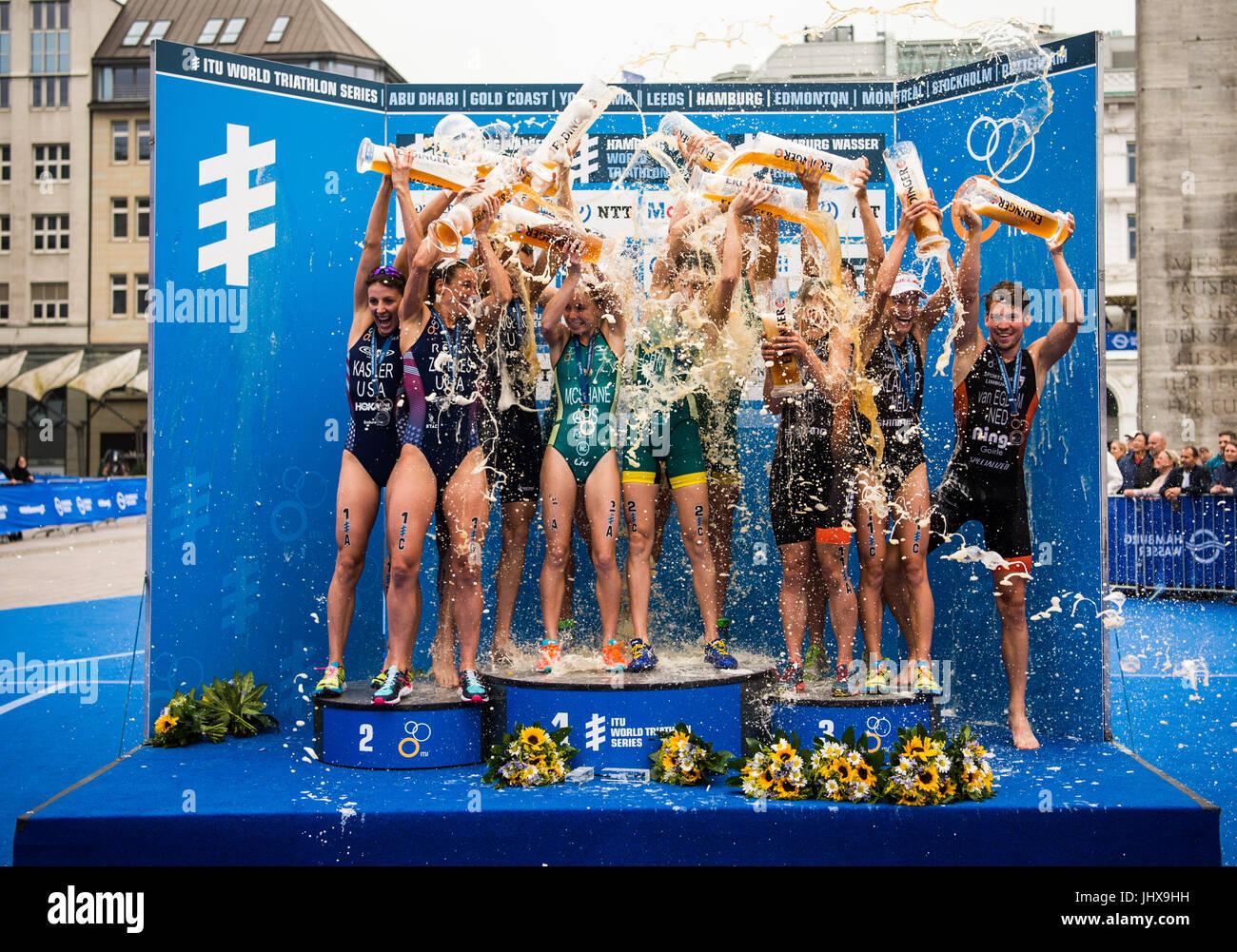 Hamburg, Germany. 16th July, 2017. dpatop - Charlotte McShane, Ashleigh Gentle, Matthew Hauser, Jacob Birtwhistle - Stock Image