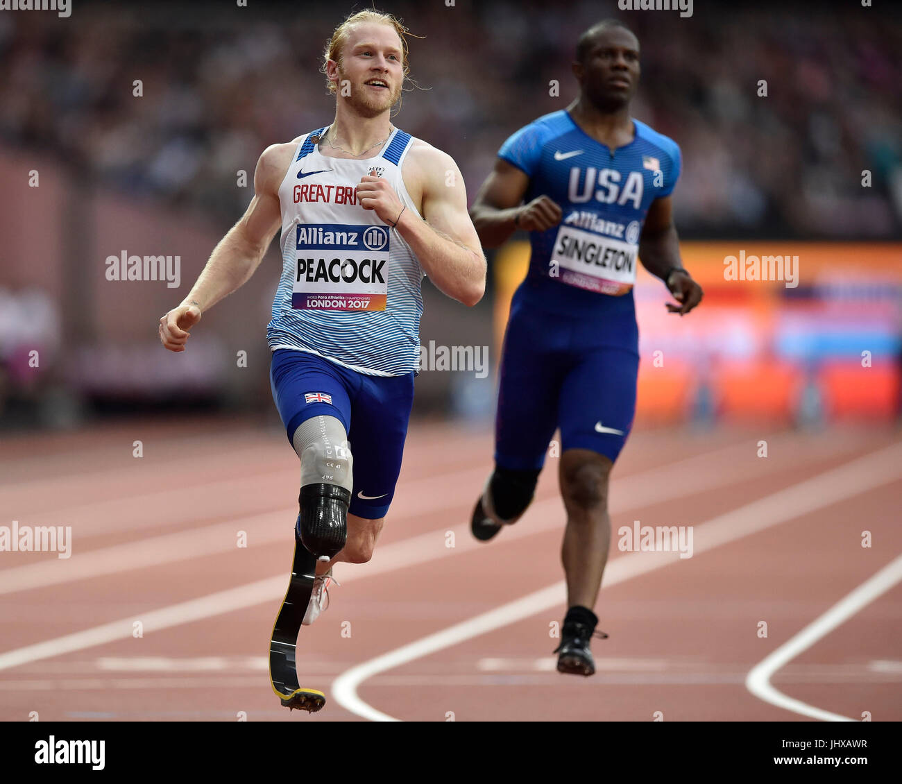 London, UK. 16th July, 2017. Jonnie Peacock in Men's 100M T44 during World Para Athletics Championships London - Stock Image