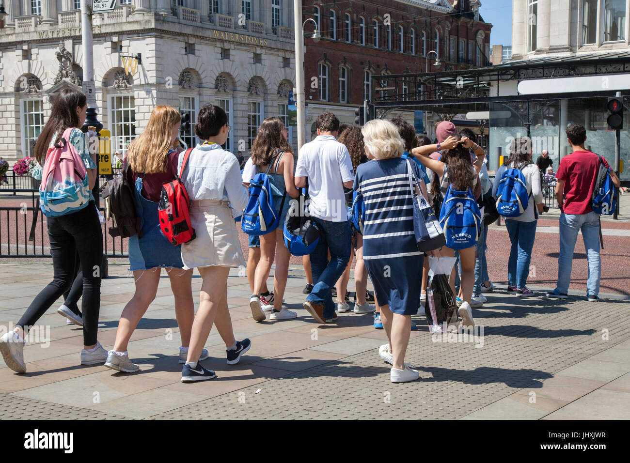 Southport, Merseyside, UK. 17th Jul, 2017. Busy Town Centre, with tourists and shoppers enjoying the sunshine and Stock Photo