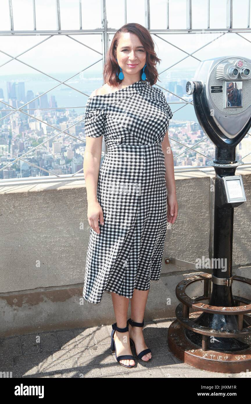 New York, NY, USA. 17th July, 2017. Maya Rudolph lights The Empire State Building in celebration of World Emoji - Stock Image