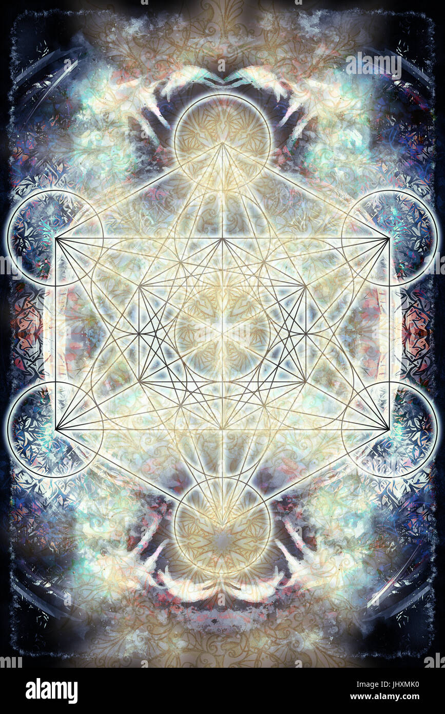 Merkaba on abstract color background. Sacred geometry. - Stock Image