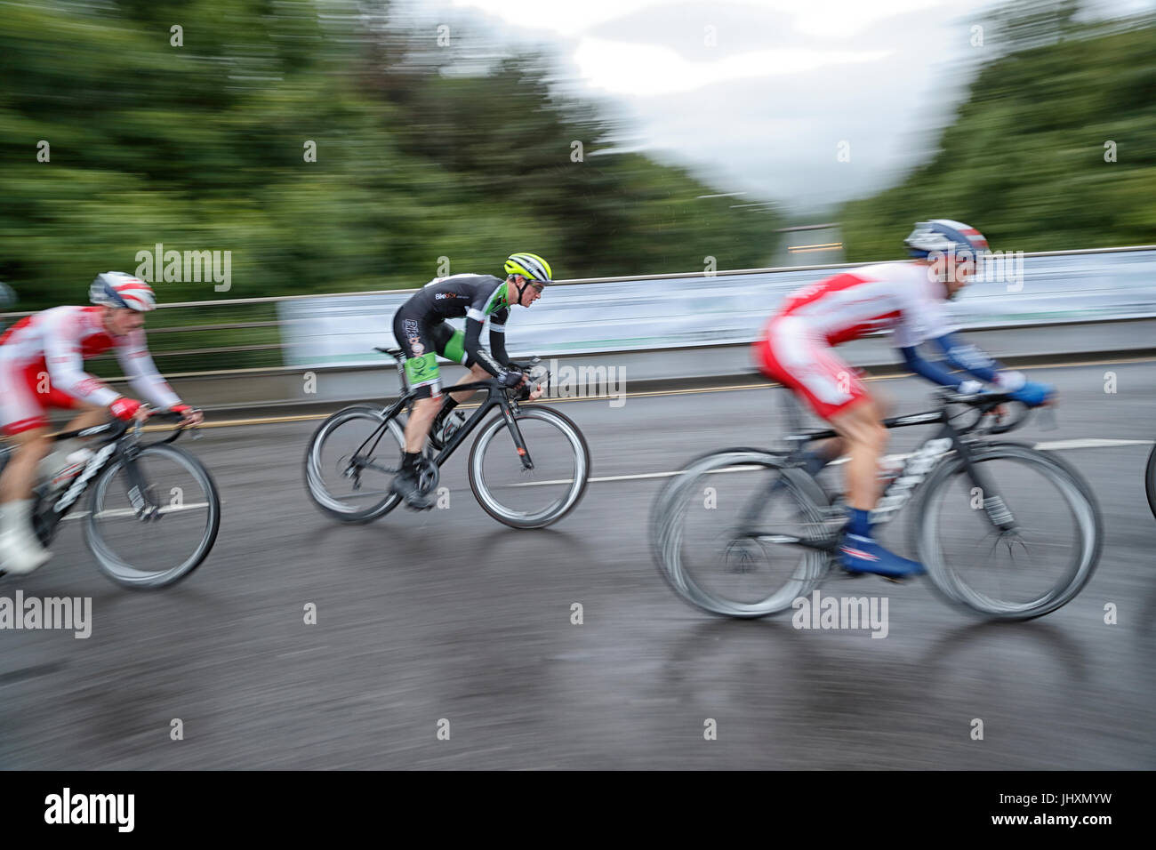Otley cycle race's taking place on a wet cold Wednesday evening 28-06-2017 - Stock Image