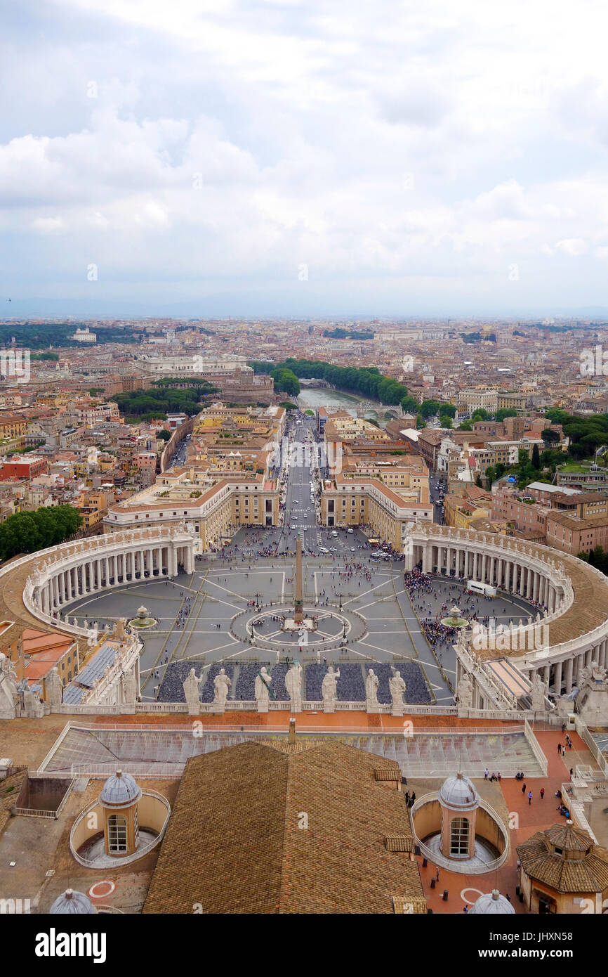 View from the top of St Peters Basilica, Vatican City, Italy - Stock Image