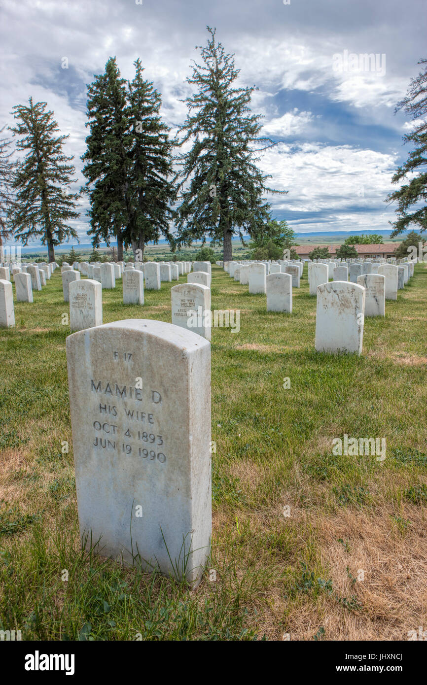 The cemetery at the Little Bighorn national monument in Montana. Stock Photo