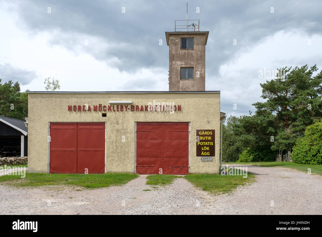 Abandoned fire station in Norra Möckleby on Swedish Baltic sea island Öland. The fire station serves as - Stock Image